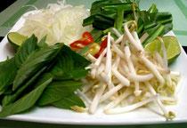 dazu wird verschiedenes Gemüse gereicht, welches man in die Suppe gibt