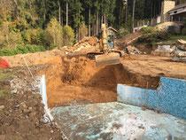 Baustelle Umbau Pool zu Schwimmteich Schärding 2014