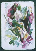 """Ольга Попова. """"Дама с единорогом"""", аквапринт, коллаж, акварель, 1999"""