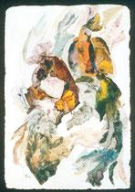 """Ольга Попова.  """"Дама с попугаем"""", аквапринт,коллаж, акварель, 1999"""