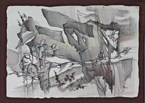"""Ольга Попова. """"Происхождение-3"""", литографский карандаш, 1999"""