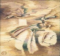"""Ольга Попова,  гобелен """"Натюрморт"""" 45х45, 1993, Польша, частное собрание"""