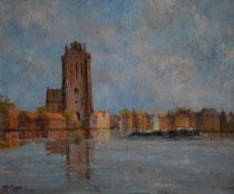 Grote Kerk gezien uit Zwijndrecht, zomer (50 cm X 60 cm)