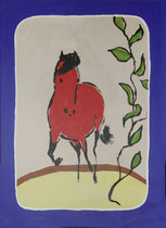 1.) Rotes Pferd, Druck auf Papier 50x70: 000.- €