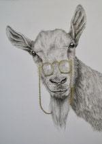 """Goat-see"", Kohle, Goldblatt, 55 x 70 cm, 850 Euro"