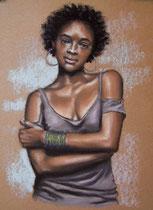 """""""Strong"""", Kohle und Pastell, 27 x 38 cm, verkauft"""