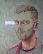 """""""Einblick II"""", Acryl, Ölkreide und Ö auf Malplatte, 40 x 50 cm, 850 Euro"""