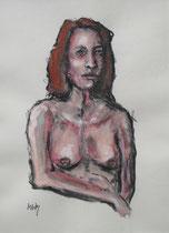 """Confident"", Tinte, Kohle, Aquarell, Pastell, 38 x 48 cm, verkauft"