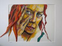 """""""Ihr Blick"""", Ölkreide auf Papier, 70 x 52, 650 Euro"""