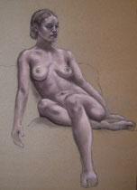 """""""Stiller Moment"""", Kohle, Graphit und Pastell, 43 x 53, 180 Euro"""