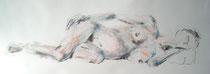 """""""Schwanger"""", Kohle und Pastell auf Papier, 51 x 26 cm 50 Euro"""