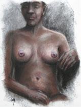 """""""Bare"""", Kohle und Pastell auf Papier, 60 x 75 cm, verkauft"""