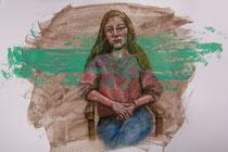 """""""Mona Lisa 2.0"""" Acryl und Ölkreide auf Papier, 70 x 52, 450 Euro"""