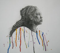 """Colors of Life"", Kohle und Aquarell, 35 x 30 cm, 450 Euro"