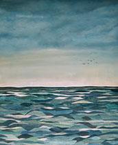 """Nach dem Sturm"", Collage, Aquarell, Öl, 43 x 53 cm, 350 Euro"