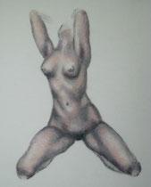 """""""Akt knieend"""", Kohle und Pastell, 24 x 30 cm, 80 Euro"""