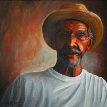 """His Hat"", Öl auf Leinwand, 60 x 60 cm, 1500 Euro mit Rahmen"