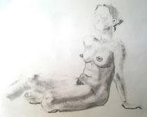 """Sitting Nude"", Kohle auf Papier, 56 x 43 cm, 80 Euro"