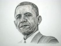 """""""Obama"""", Graphit und Kohle, 35 x 30 cm, 750 Euro"""