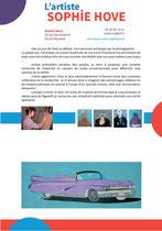 Le portrait de l'artiste Sophie Hove dans la présentation de son art et de ses tableaux ayant pour thème les voitures de collection pour démarcher les collectionneurs _ Techniques : graphismes vectoriels