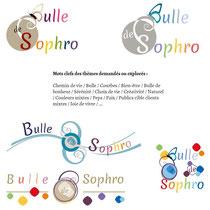 Extraits et détails 3 des recherches de Cloé Perrotin pour le logo de la sophrologue Pascale Bridoux-Ruelle de Bulle de Sophro