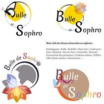 Extraits et détails 1 des recherches de Cloé Perrotin pour le logo de la sophrologue Pascale Bridoux-Ruelle de Bulle de Sophro