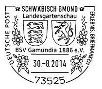 Sonderstempel der Deutschen Post Erlebnis: Briefmarken und des BSV Gamundia 1886 e.V.