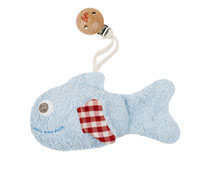 Rassel Fisch blau mit Clip
