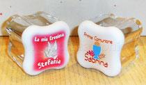 Scatoline quadrifoglio in plexiglas Cresima e Comunione personalizzata con il nome e confezionata con 5 confetti € 5,50