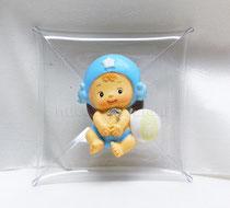 Scatola busta in pvc 7,5 x 7,5 cm  con chiusura in metallo€ 1,60 all'internoi confetti desiderati,all'esterno la calamita baby azzurro € 2,00  potrà a piacere finire la confezione in modo simpatico