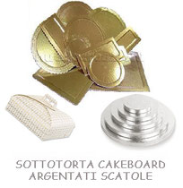 SOTTOTORTA CAKEBOARD ARGENTATI SCATOLE TORTA