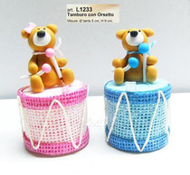 scatola tamburo con orsetto rosa o azzurro € 2,60 senza confetti