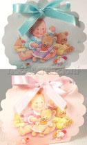 borsa rotonda coccole rosa o azzurra € 0,50 cadauna senza confetti e senza nastro