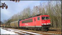 Am 23.01.2009 war 155 163 mit VW-Zug kurz vor Niederwiesa anzutreffen.