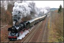 Abschiedsfahrt von 50 3648 mit Sonderzug nach Cranzahl und zurück am 28.03.2009, Schiebelok war 58 311.