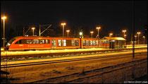 Im Winter 2009 legte die Erzgebirgsbahn aus Olbernhau in Richtung Chemnitz noch einen planmäßigen Halt in Niederwiesa ein, so fotografiert am 17.02.2009.