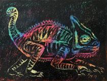 Chmäleon 9, Wachskreide auf Papier, 28 x 39 cm