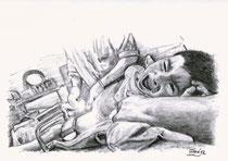 961  P 1174 Schmerz, Junge bei der Beschneidung im OP, festgeschnallt und festgehalten, Gersthofen, 28.6.2012