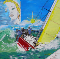 sailing triestbora, acryl auf leinwand, 40 x 40, patchwork-verklebung/unavailable (sorry)
