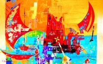 """""""regatta arrival"""", 116 x 75 x 3,5  acryl auf leinwandrahmen, erhaben pinsel-spachtelstrukturiert, glanzkonserviert"""