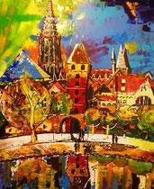 """""""butcher-tower`s deja-vu at cheops/ulm"""" / 120 x 100 x 3,5 / acryl auf leinwand / konserviert/not available"""
