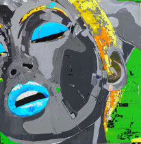 """woman in pain"", 60 x 60, acryl auf leinwandrahmen, erhaben pinsel-spachtelstrukturiert, glanzkonserviert /not available"