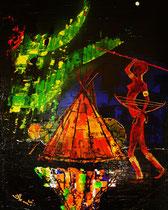 """where the lights go down"" (polarlicht/nordlicht) / 100 x 80 x 3,5 cm / acryl / not available"