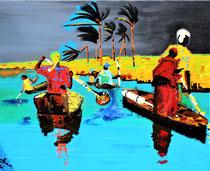 """""""... day after IRMA 2017 / north-caribic ... """" / 100 x 80 x5 / acryl auf leinwand-holzrahmen / preis auf anfrage"""