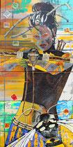 """female guardian for the last insects"" / 80 x 160 x 6 / acryl 2 x leinwand-holzrahmen / VB"