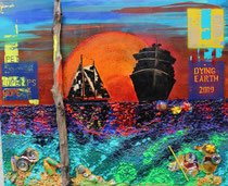 """schwemmholz alias dying earth 2019"" / acryl-meeresmüll-collage / 120 x 100 x 3 / leinwand-holzrahmen / VB"