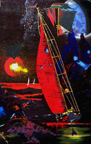 """moon-sailing at mare crisum"" / 80 x 100 x 2 / acryl auf leinwand / preis auf anfrage"