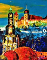 """coburg-meeting"" (veste mit klerikalem ensemble) / 80 x 100 x 5 /acryl auf leinwand-holzrahmen / not available"