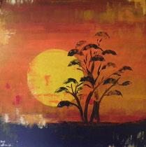 savanne am morgen, 80 x 80, acryl auf leinwandrahmen