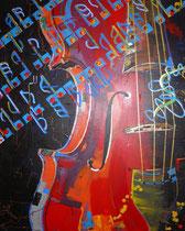 reanimated violin / geige / surreale näherung, hochformat, 80 cm x 100 cm, acryl auf leinwandrahmen